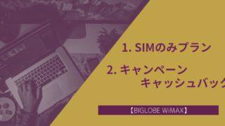 BIGLOBE WiMAXのキャンペーン・キャッシュバック・SIMのみプラン
