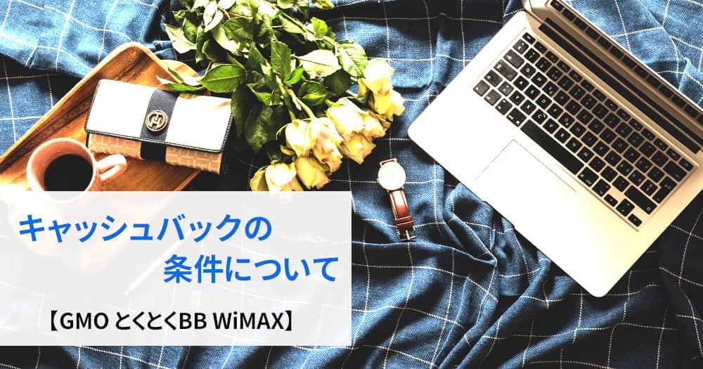 GMOとくとくBB WiMAXのキャッシュバック条件